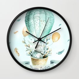 Cute Easter Bunny Hot Balloon Wall Clock