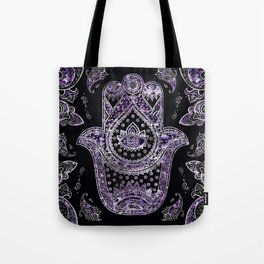 Hamsa Hand  - silver and amethyst Tote Bag