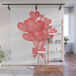 Valentine's day background with heart balloons with ribbon. Wall Mural