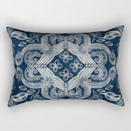 Indigo blue dirty denim textured boho pattern Rectangular Pillow