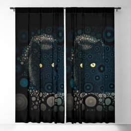 Cat In The Shadows Circle Mosaic Blackout Curtain