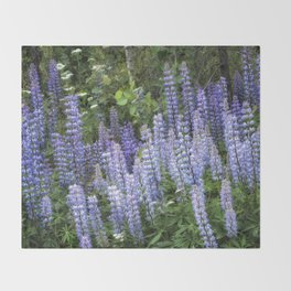 Lupins in Blue and Purple Throw Blanket