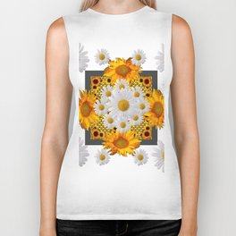 WHITE DAISIES FLORAL & YELLOW SUNFLOWERS FLOWERS Biker Tank