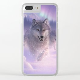Wolf Pack Running - Northern Lights Clear iPhone Case