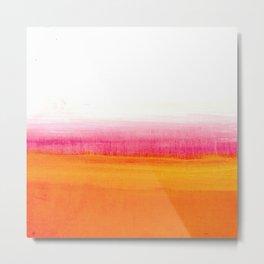 Orange Solar Sunset acrylic painting Metal Print