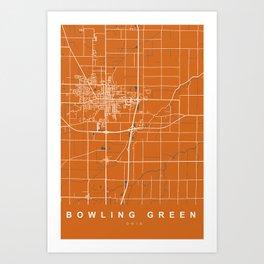 BOWLING GREEN map - OHIO - US | Orange Art Print