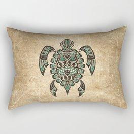 Vintage Teal Blue Haida Spirit Sea Turtle Rectangular Pillow