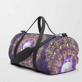Decorative Background with Round Amethyst Duffle Bag