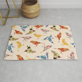 Vintage Wallpaper Birds Rug