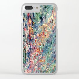Bloom - palette knife abstract floral painting by Adriana Dziuba Clear iPhone Case