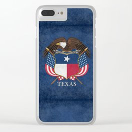 Texas flag and eagle crest - original vintage concept Clear iPhone Case