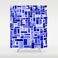 doors Shower Curtains featuring Doors - Blues by Finlay McNevin