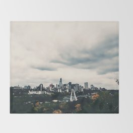 Edmonton Alberta, Digital Painting of a Very Cloudy Downtown just Before an Autumnal Storm Throw Blanket