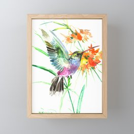 Hummignbird and Flowers Framed Mini Art Print