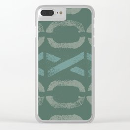 Shapes Of Love - Green Bold Pattern Clear iPhone Case
