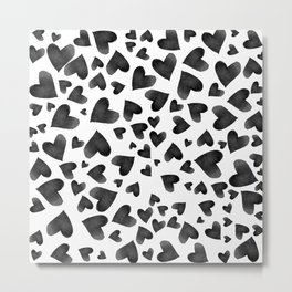 Modern black watercolor love hearts simple pattern Metal Print