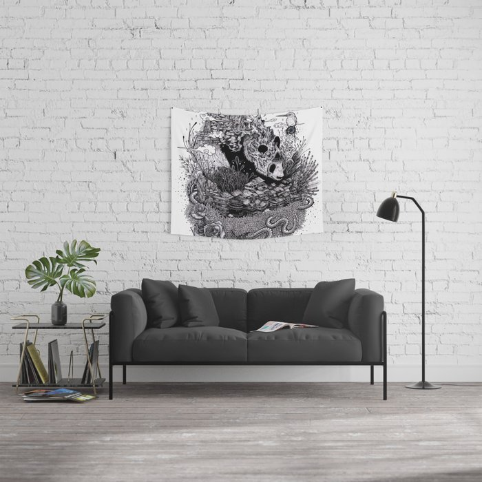 Land of the Sleeping Giant (ink drawing) Wall Tapestry
