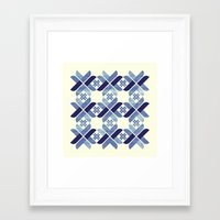 nordic Framed Art Prints featuring Nordic Blue by Kata