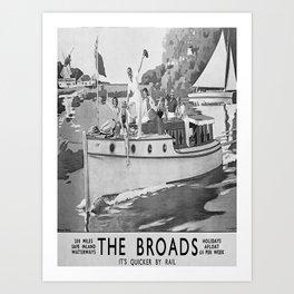 retro monochrome The Broads retro poster Art Print