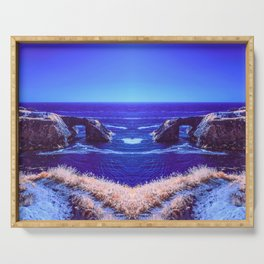 Early Morning Infrared Symmetrical Image of a Rocky Cove in Mendocino, California Serving Tray