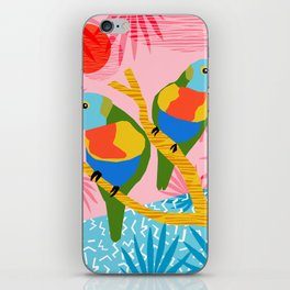 Besties - retro throwback memphis bird art pattern bright neon pop art abstract 1980s 80s style mini iPhone Skin