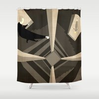 vertigo Shower Curtains featuring Hitchcock's Vertigo by Carlos Ramirez