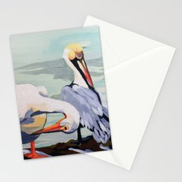 Preening Pelicans Stationery Cards
