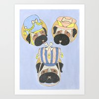Little Drummer Pugs Art Print