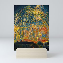 Colorful Summer Fireworks in Nice, France landscape by Nicolai Tarkoff Mini Art Print