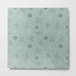 Mint grey green tropical flower print Metal Print