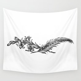 Flowers and feather Wall Tapestry