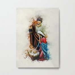 Joseph Mary and Jesus Metal Print