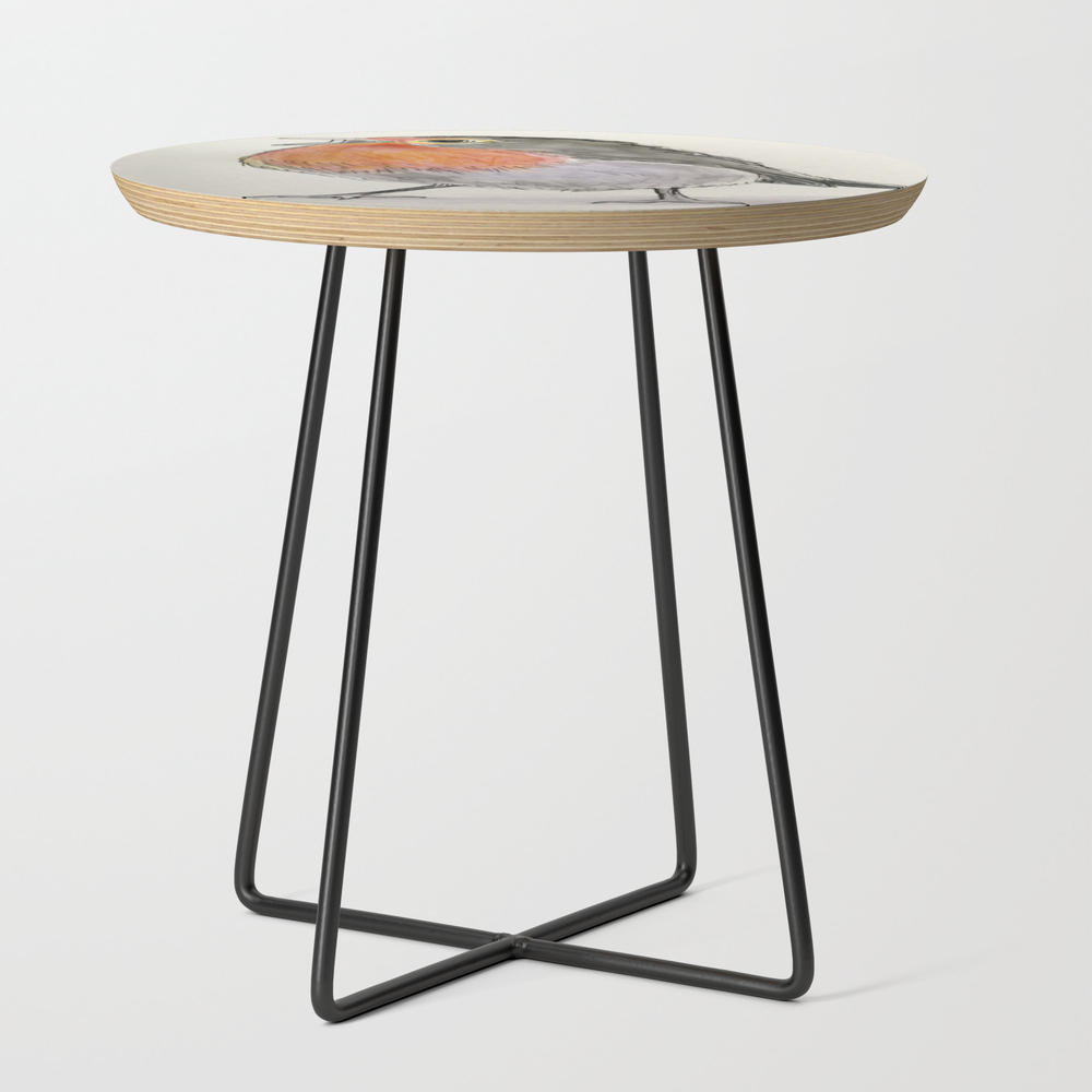 Red-breasted Bird Round Side Table with Black Legs by Hkeldermans (STD10135606) photo