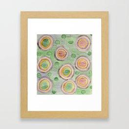 Luminous Ringed Circles on Green Framed Art Print