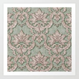 Pink Green Paisley Floral Art Print