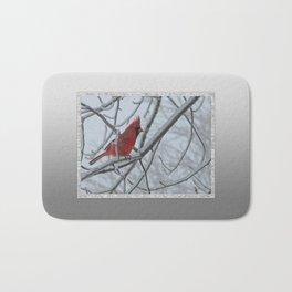 Redbird on Icy Tree Branch Bath Mat