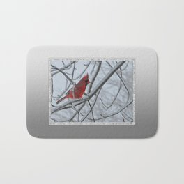 Redbird on Icy Tree Branch Bath Mat
