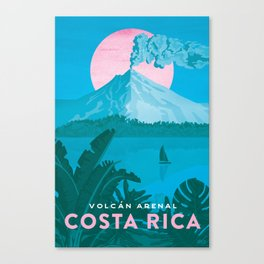 Costa Rica, Volcano Arenal Vintage Travel Poster Canvas Print