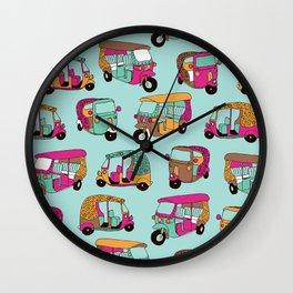 India rickshaw illustration pattern Wall Clock
