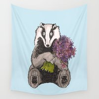 badger Wall Tapestries featuring Badger with Flowers by Meredith Mackworth-Praed