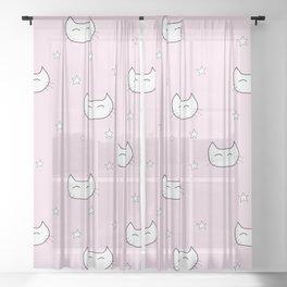 kitty star pattern Sheer Curtain