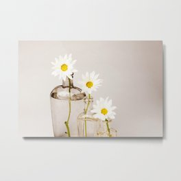 Vintage Daisies - White Metal Print