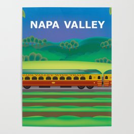 Napa Valley, California - Skyline Illustration by Loose Petals Poster