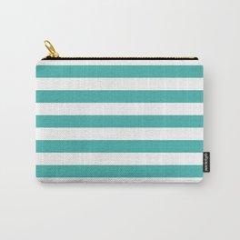 Narrow Horizontal Stripes - White and Verdigris Carry-All Pouch