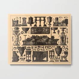 Iconographic Encyclopedia of Science, Literature and Art (1851) - Roman Fittings and Tools Metal Print