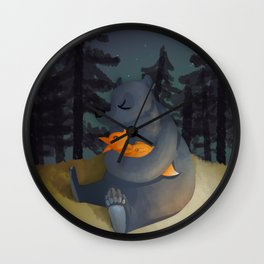 The fox and his foster mum Wall Clock