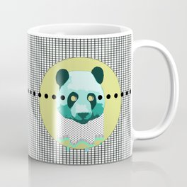 the blue panda who was melting black and white Coffee Mug
