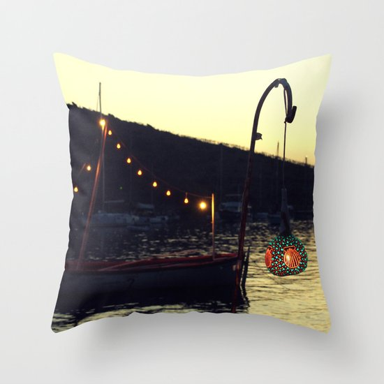 sunset in gumusluk with boat Throw Pillow