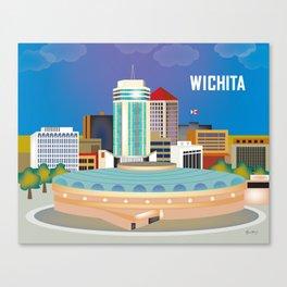 Wichita, Kansas - Skyline Illustration by Loose Petals Canvas Print