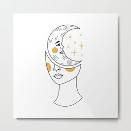 Crescent Moon Girl Metal Print